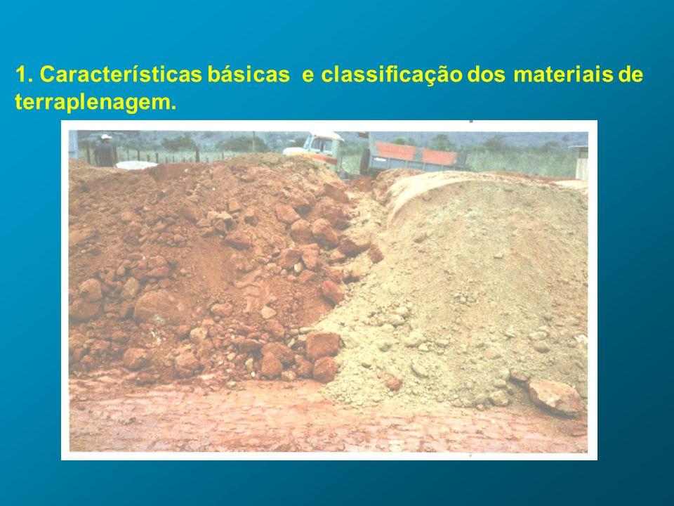 1. Características básicas e classificação dos materiais de terraplenagem.