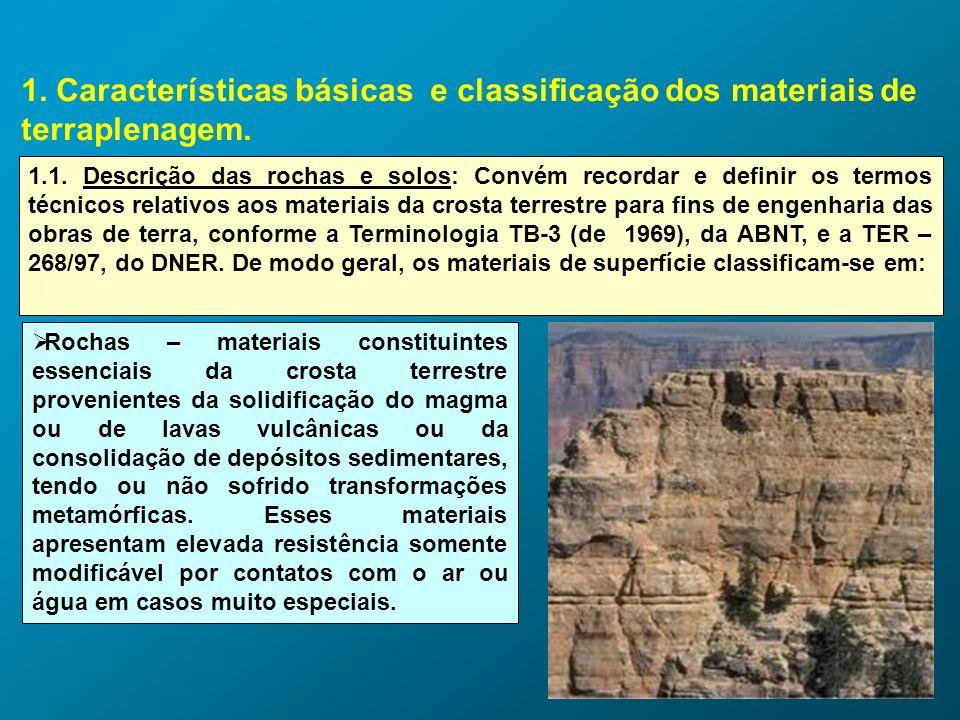 1. Características básicas e classificação dos materiais de terraplenagem. 1.1. Descrição das rochas e solos: Convém recordar e definir os termos técn