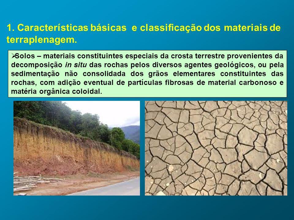 1. Características básicas e classificação dos materiais de terraplenagem. Solos – materiais constituintes especiais da crosta terrestre provenientes