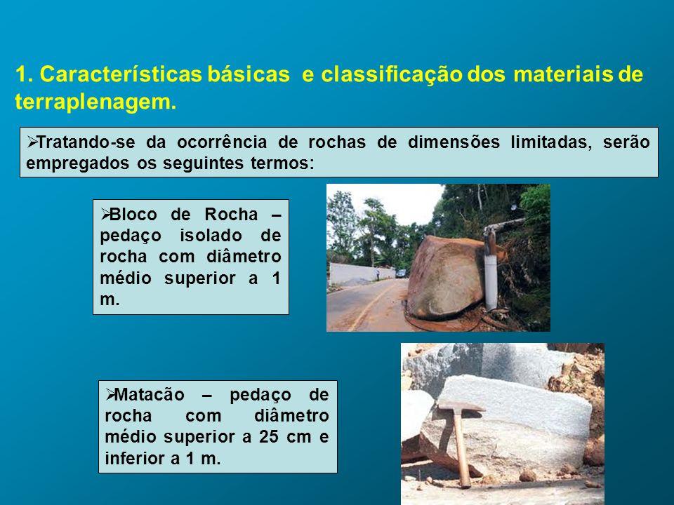 1. Características básicas e classificação dos materiais de terraplenagem. Tratando-se da ocorrência de rochas de dimensões limitadas, serão empregado