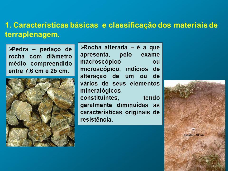 1. Características básicas e classificação dos materiais de terraplenagem. Pedra – pedaço de rocha com diâmetro médio compreendido entre 7,6 cm e 25 c