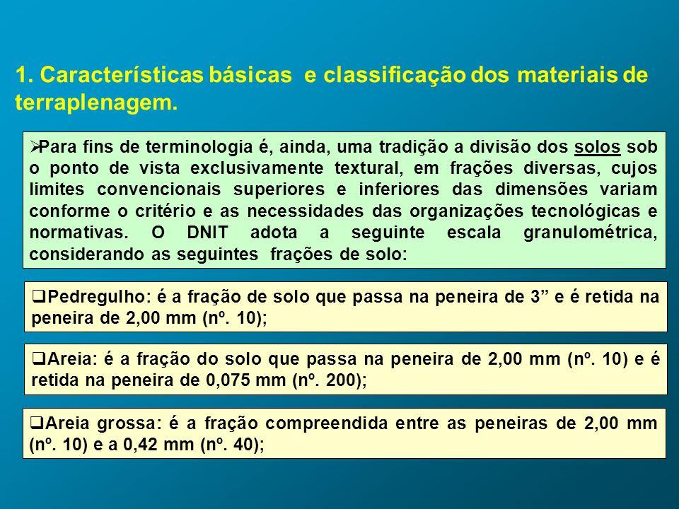 1. Características básicas e classificação dos materiais de terraplenagem. Para fins de terminologia é, ainda, uma tradição a divisão dos solos sob o