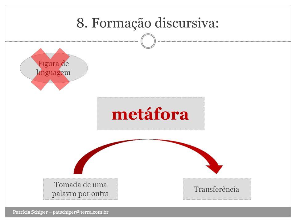 8. Formação discursiva: Patrícia Schiper – patschiper@terra.com.br metáfora Figura de linguagem Tomada de uma palavra por outra Transferência