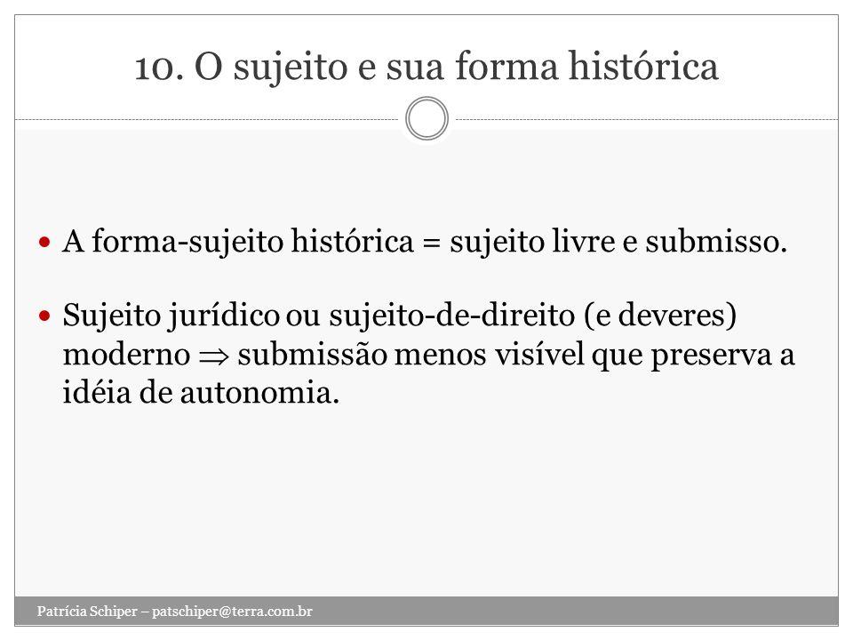 10. O sujeito e sua forma histórica A forma-sujeito histórica = sujeito livre e submisso. Sujeito jurídico ou sujeito-de-direito (e deveres) moderno s