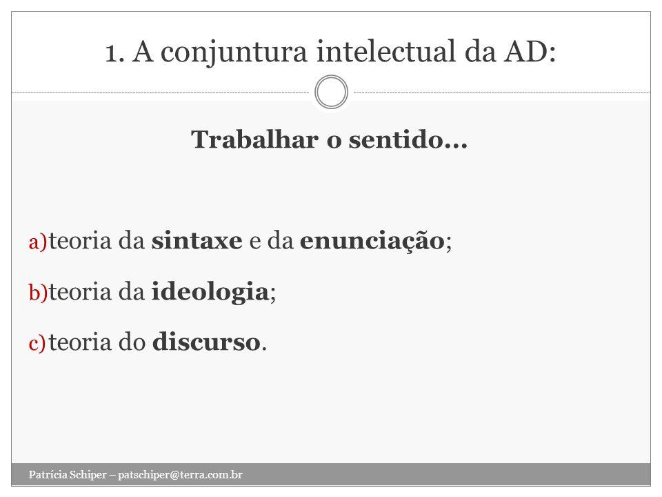 1. A conjuntura intelectual da AD: Trabalhar o sentido... a) teoria da sintaxe e da enunciação; b) teoria da ideologia; c) teoria do discurso. Patríci