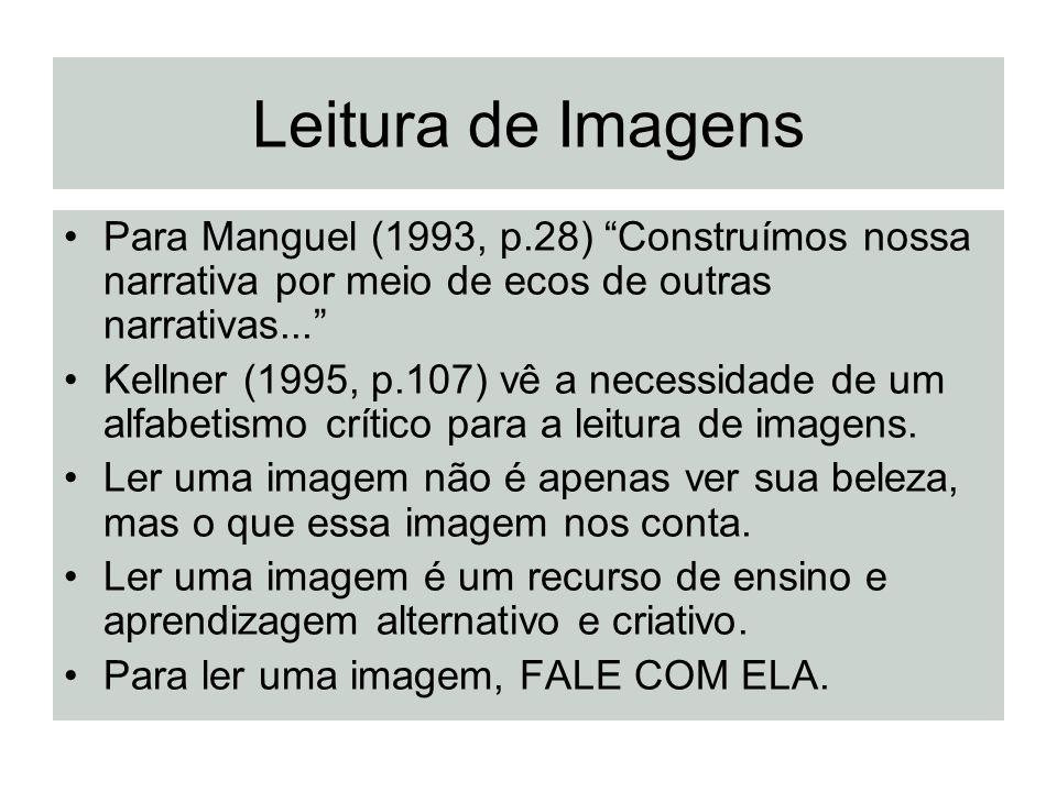 Leitura de Imagens Para Manguel (1993, p.28) Construímos nossa narrativa por meio de ecos de outras narrativas... Kellner (1995, p.107) vê a necessida