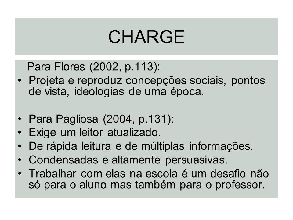 CHARGE Para Flores (2002, p.113): Projeta e reproduz concepções sociais, pontos de vista, ideologias de uma época. Para Pagliosa (2004, p.131): Exige