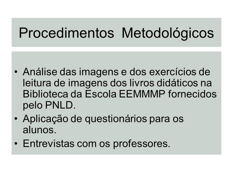 Procedimentos Metodológicos Análise das imagens e dos exercícios de leitura de imagens dos livros didáticos na Biblioteca da Escola EEMMMP fornecidos