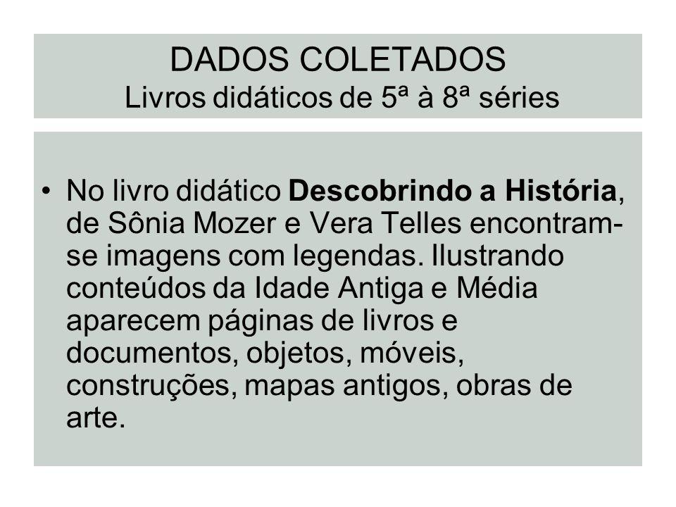 DADOS COLETADOS Livros didáticos de 5ª à 8ª séries No livro didático Descobrindo a História, de Sônia Mozer e Vera Telles encontram- se imagens com le