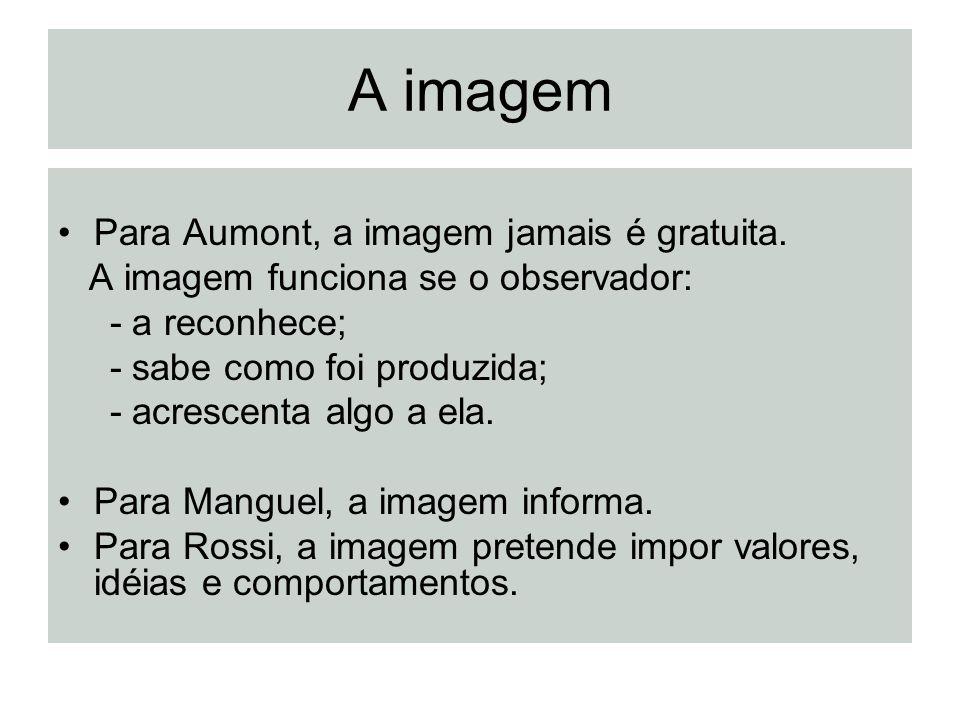A imagem Para Aumont, a imagem jamais é gratuita. A imagem funciona se o observador: - a reconhece; - sabe como foi produzida; - acrescenta algo a ela