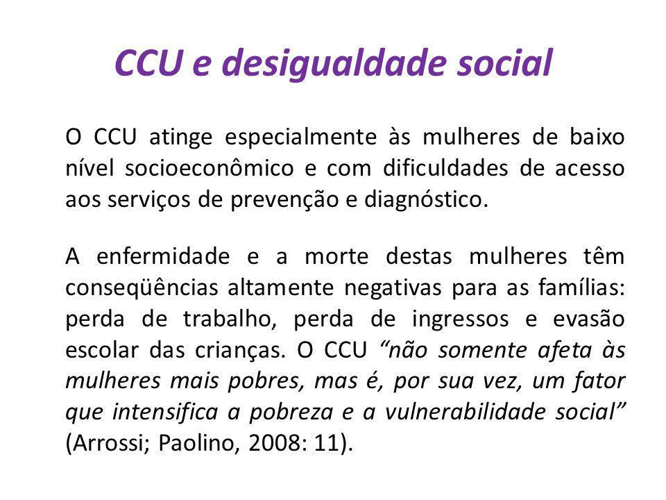CCU e desigualdade social O CCU atinge especialmente às mulheres de baixo nível socioeconômico e com dificuldades de acesso aos serviços de prevenção