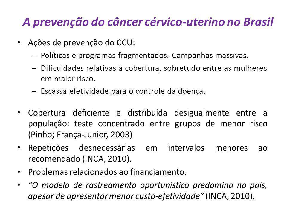A prevenção do câncer cérvico-uterino no Brasil Ações de prevenção do CCU: – Políticas e programas fragmentados. Campanhas massivas. – Dificuldades re