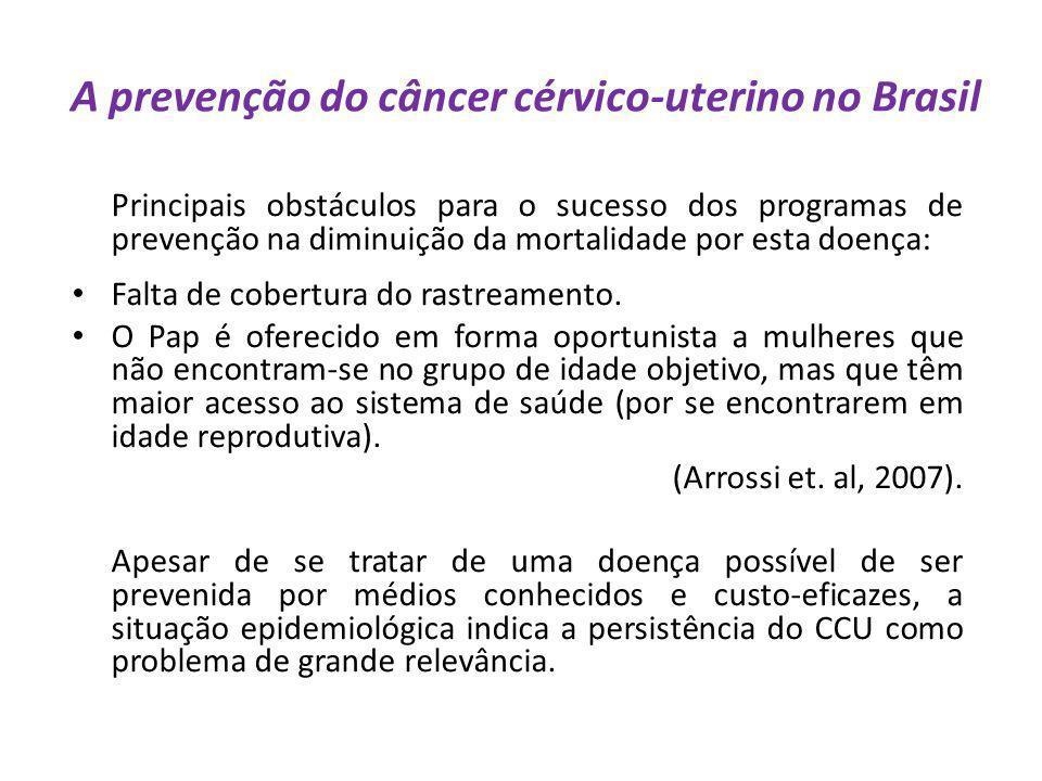A prevenção do câncer cérvico-uterino no Brasil Principais obstáculos para o sucesso dos programas de prevenção na diminuição da mortalidade por esta