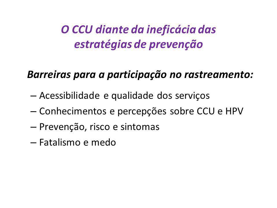 O CCU diante da ineficácia das estratégias de prevenção Barreiras para a participação no rastreamento: – Acessibilidade e qualidade dos serviços – Con