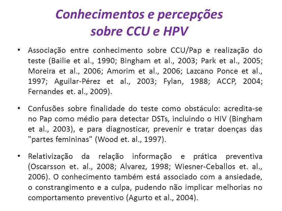 Conhecimentos e percepções sobre CCU e HPV Associação entre conhecimento sobre CCU/Pap e realização do teste (Bailie et al., 1990; Bingham et al., 200