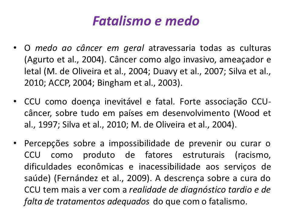 Fatalismo e medo O medo ao câncer em geral atravessaria todas as culturas (Agurto et al., 2004). Câncer como algo invasivo, ameaçador e letal (M. de O