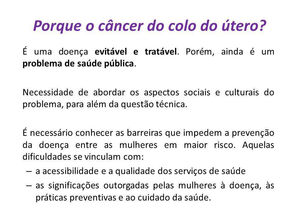 Porque o câncer do colo do útero? É uma doença evitável e tratável. Porém, ainda é um problema de saúde pública. Necessidade de abordar os aspectos so