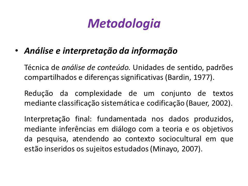 Metodologia Análise e interpretação da informação Técnica de análise de conteúdo. Unidades de sentido, padrões compartilhados e diferenças significati
