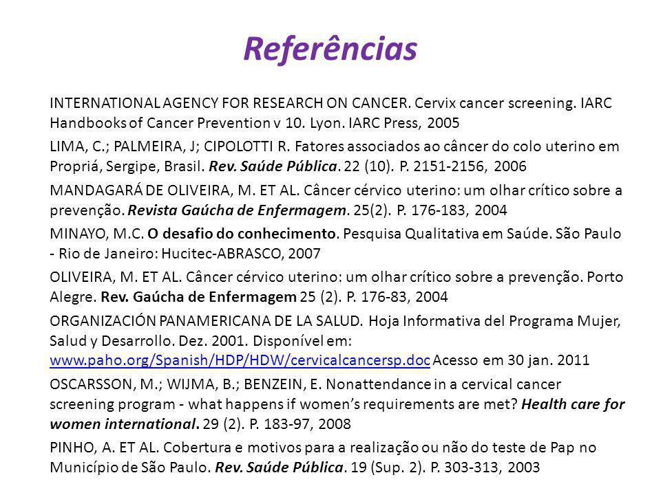 Referências INTERNATIONAL AGENCY FOR RESEARCH ON CANCER. Cervix cancer screening. IARC Handbooks of Cancer Prevention v 10. Lyon. IARC Press, 2005 LIM