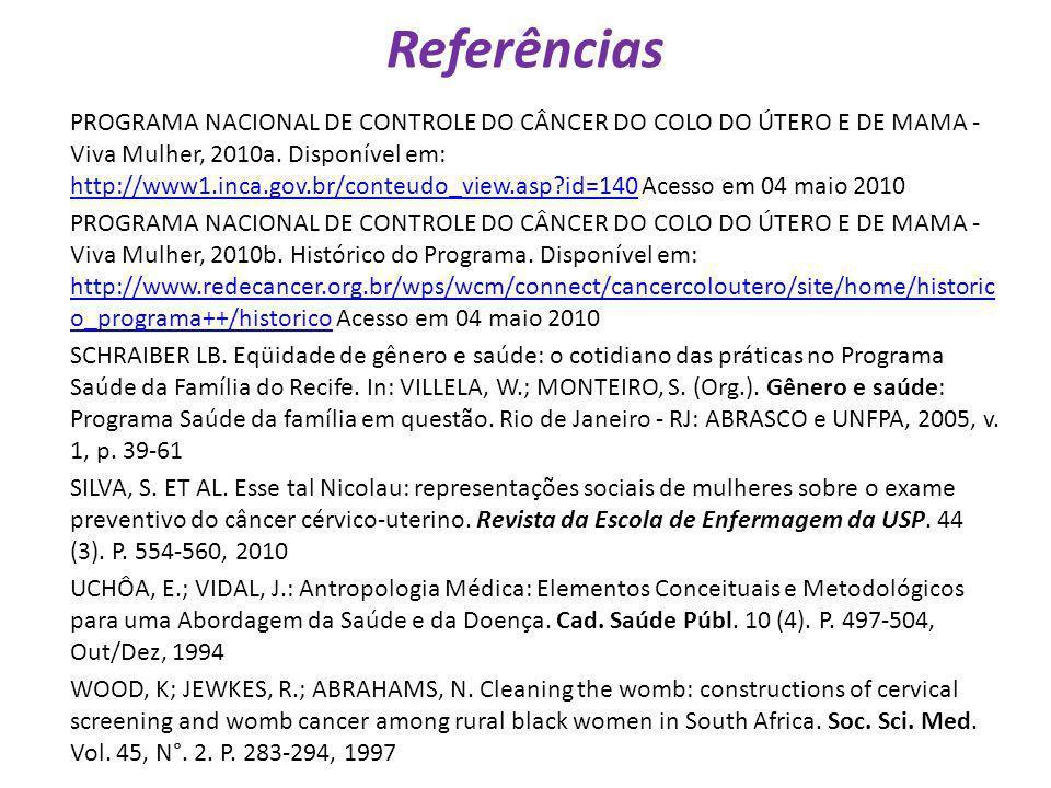 Referências PROGRAMA NACIONAL DE CONTROLE DO CÂNCER DO COLO DO ÚTERO E DE MAMA - Viva Mulher, 2010a. Disponível em: http://www1.inca.gov.br/conteudo_v