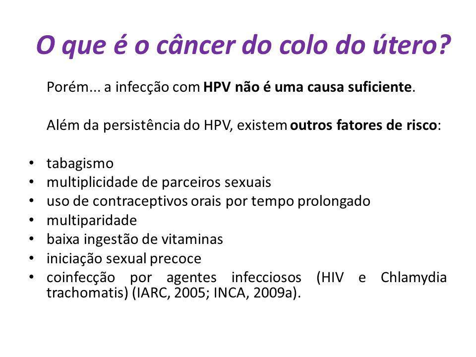 O que é o câncer do colo do útero? Porém... a infecção com HPV não é uma causa suficiente. Além da persistência do HPV, existem outros fatores de risc