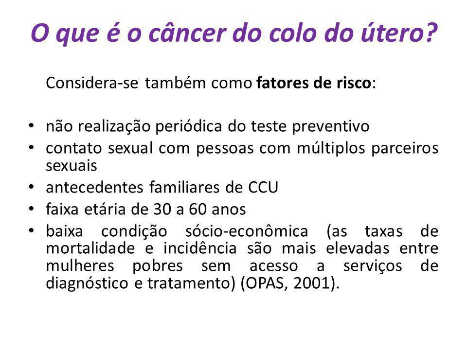 O que é o câncer do colo do útero? Considera-se também como fatores de risco: não realização periódica do teste preventivo contato sexual com pessoas