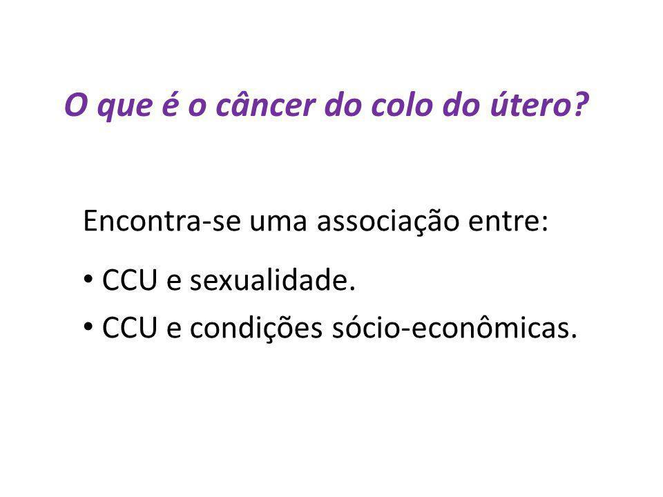 O que é o câncer do colo do útero? Encontra-se uma associação entre: CCU e sexualidade. CCU e condições sócio-econômicas.