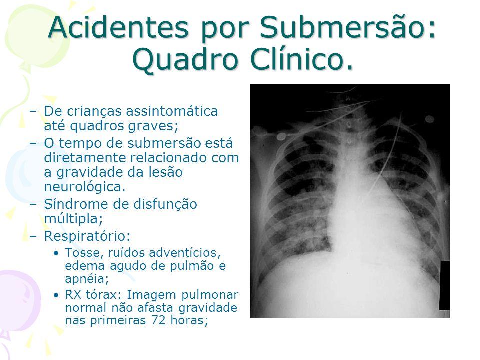 Acidentes por Submersão: Quadro Clínico. –De crianças assintomática até quadros graves; –O tempo de submersão está diretamente relacionado com a gravi