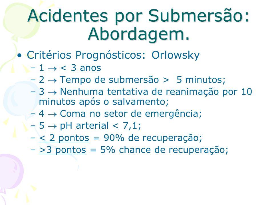 Acidentes por Submersão: Abordagem. Critérios Prognósticos: Orlowsky –1 < 3 anos –2 Tempo de submersão > 5 minutos; –3 Nenhuma tentativa de reanimação