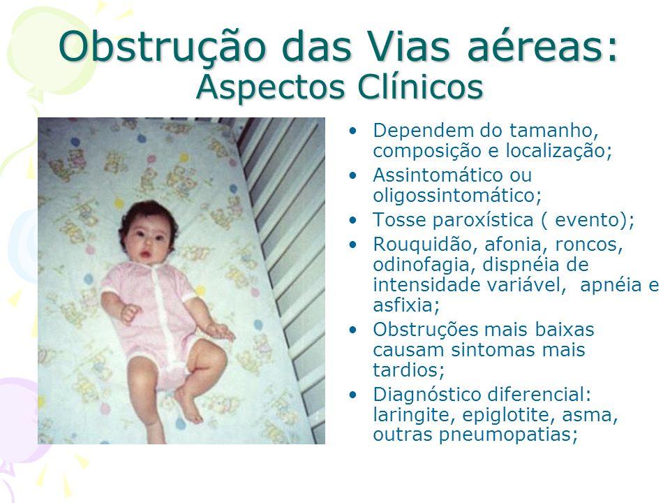 Obstrução das Vias aéreas: Aspectos Clínicos Dependem do tamanho, composição e localização; Assintomático ou oligossintomático; Tosse paroxística ( ev