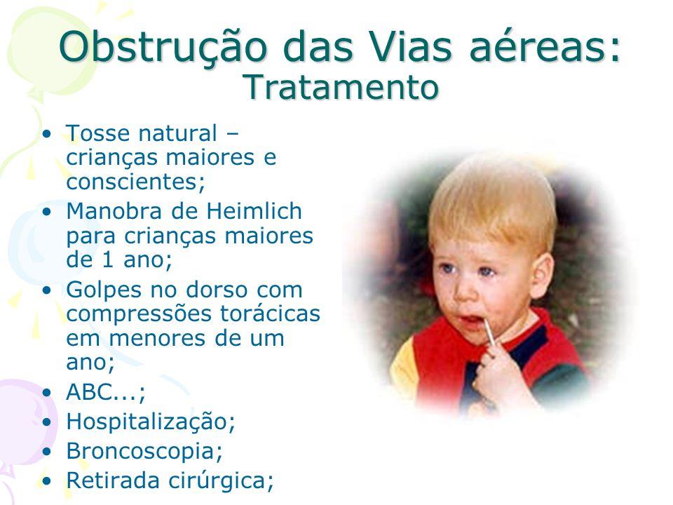 Obstrução das Vias aéreas: Tratamento Tosse natural – crianças maiores e conscientes; Manobra de Heimlich para crianças maiores de 1 ano; Golpes no do