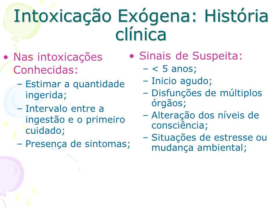 Intoxicação Exógena: História clínica Nas intoxicações Conhecidas: –Estimar a quantidade ingerida; –Intervalo entre a ingestão e o primeiro cuidado; –