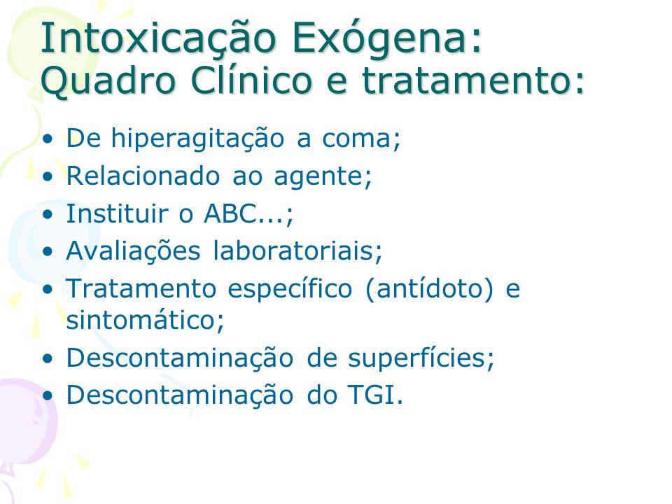 Intoxicação Exógena: Quadro Clínico e tratamento: De hiperagitação a coma; Relacionado ao agente; Instituir o ABC...; Avaliações laboratoriais; Tratam