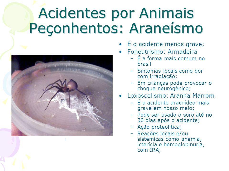 Acidentes por Animais Peçonhentos: Araneísmo É o acidente menos grave; Foneutrismo: Armadeira –É a forma mais comum no brasil –Sintomas locais como do