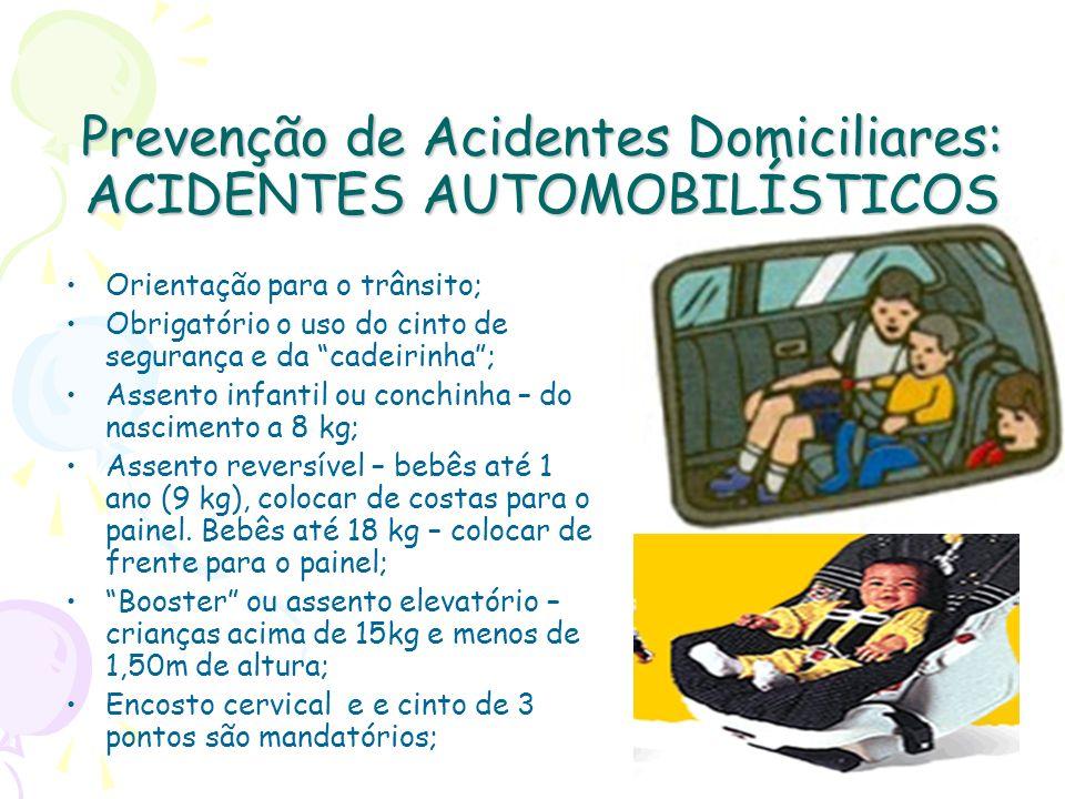 Prevenção de Acidentes Domiciliares: ACIDENTES AUTOMOBILÍSTICOS Orientação para o trânsito; Obrigatório o uso do cinto de segurança e da cadeirinha; A