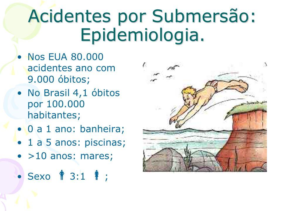 Acidentes por Submersão: Epidemiologia. Nos EUA 80.000 acidentes ano com 9.000 óbitos; No Brasil 4,1 óbitos por 100.000 habitantes; 0 a 1 ano: banheir