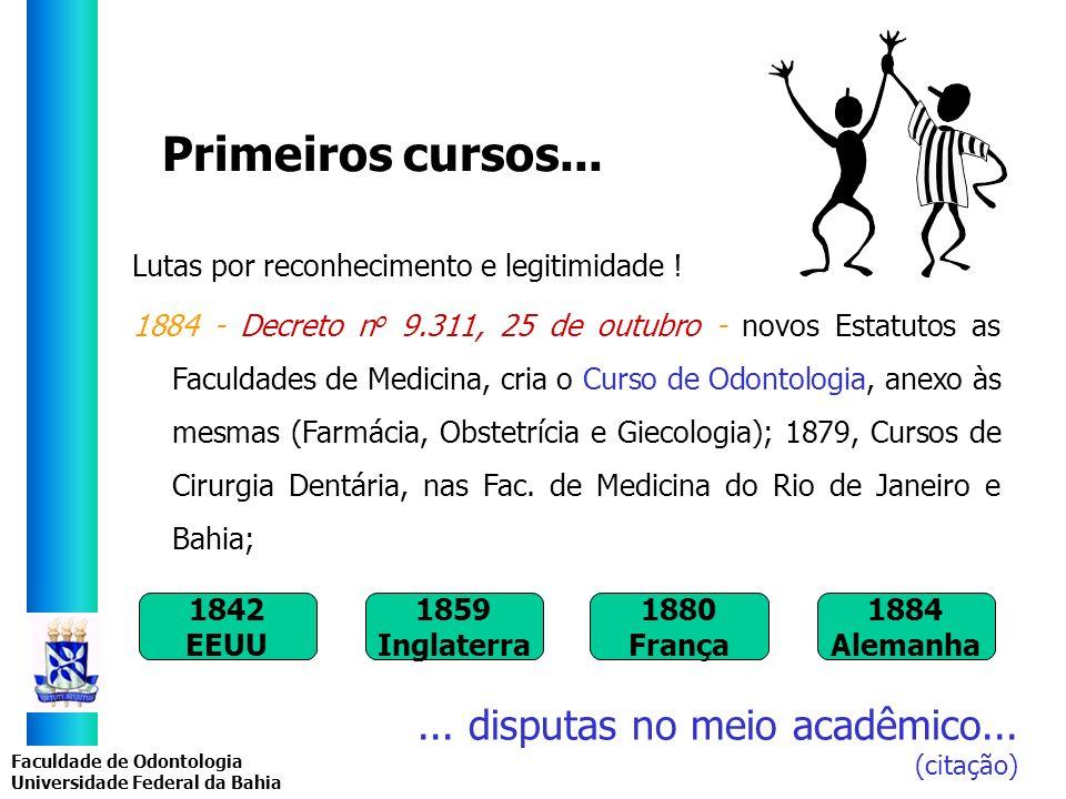 Faculdade de Odontologia Universidade Federal da Bahia Primeiros cursos... Lutas por reconhecimento e legitimidade ! 1884 - Decreto n o 9.311, 25 de o