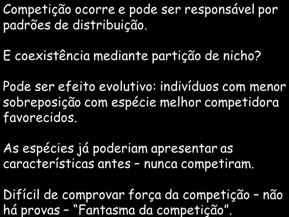 Competição ocorre e pode ser responsável por padrões de distribuição. E coexistência mediante partição de nicho? Pode ser efeito evolutivo: indivíduos