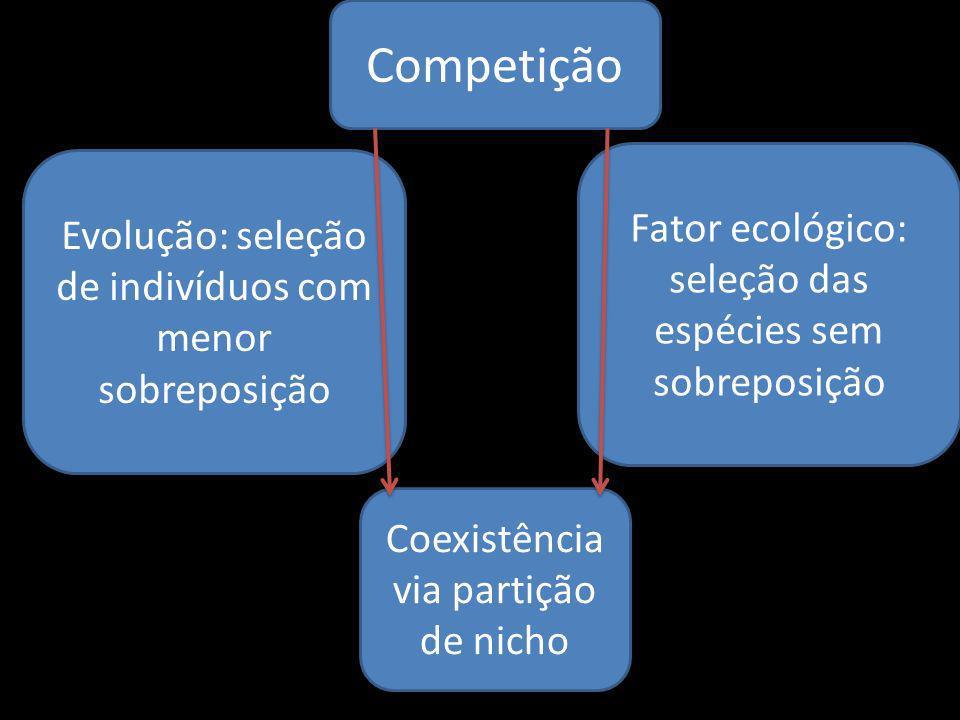 Competição Coexistência via partição de nicho Evolução: seleção de indivíduos com menor sobreposição Fator ecológico: seleção das espécies sem sobrepo
