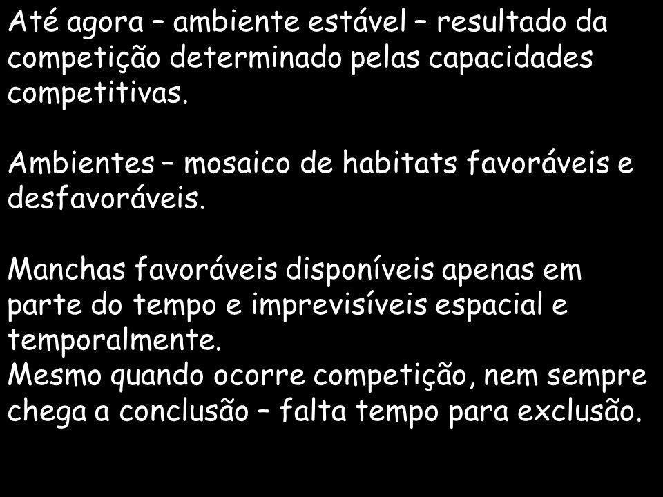 Até agora – ambiente estável – resultado da competição determinado pelas capacidades competitivas. Ambientes – mosaico de habitats favoráveis e desfav