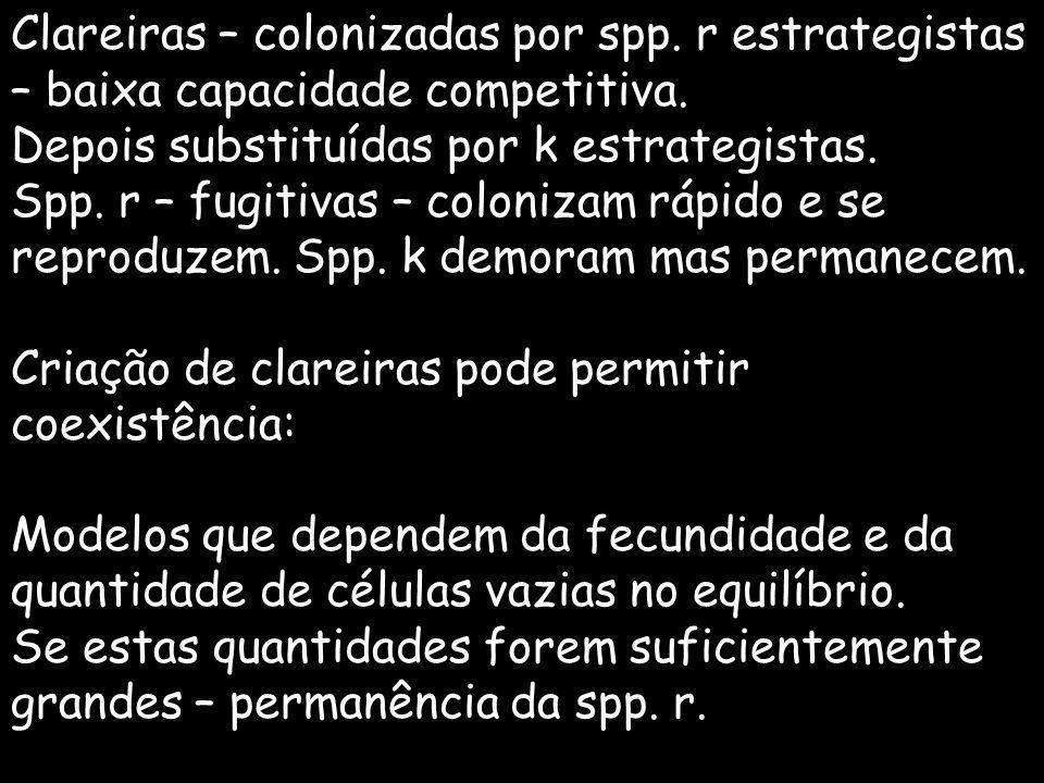Clareiras – colonizadas por spp. r estrategistas – baixa capacidade competitiva. Depois substituídas por k estrategistas. Spp. r – fugitivas – coloniz