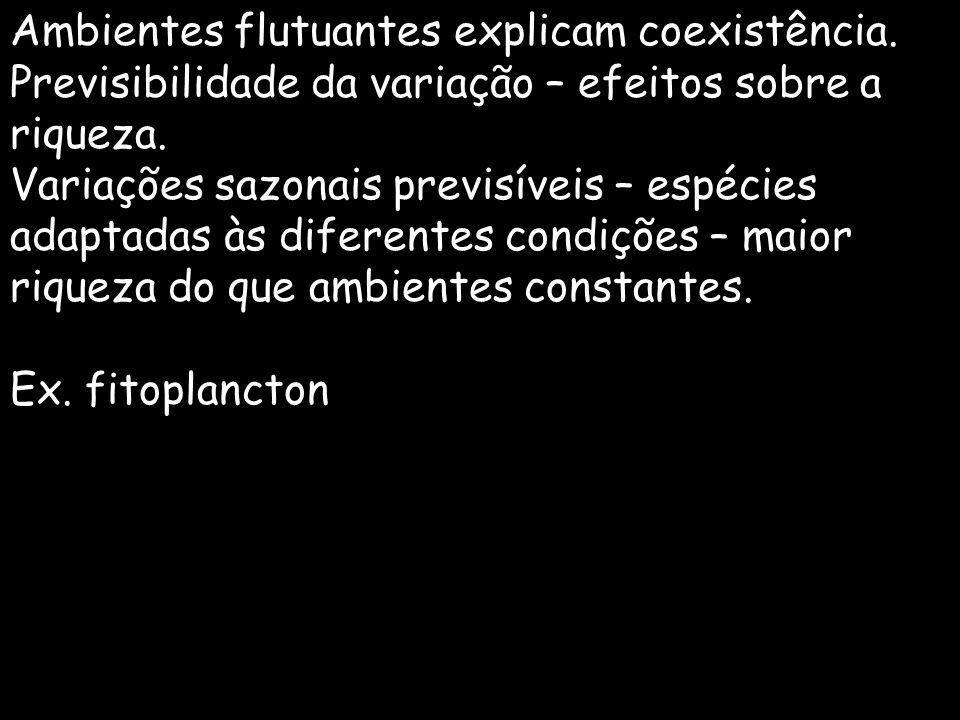 Ambientes flutuantes explicam coexistência. Previsibilidade da variação – efeitos sobre a riqueza. Variações sazonais previsíveis – espécies adaptadas