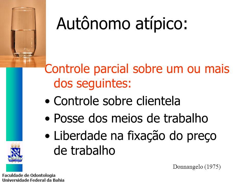 Faculdade de Odontologia Universidade Federal da Bahia Autônomo atípico: Controle parcial sobre um ou mais dos seguintes: Controle sobre clientela Pos