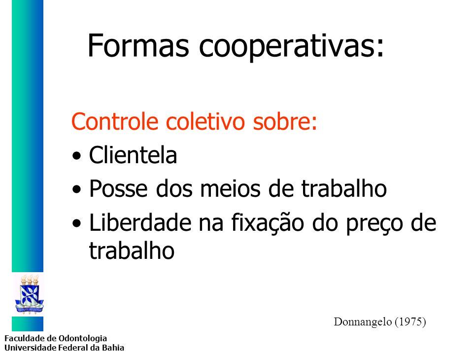 Faculdade de Odontologia Universidade Federal da Bahia Formas cooperativas: Controle coletivo sobre: Clientela Posse dos meios de trabalho Liberdade n
