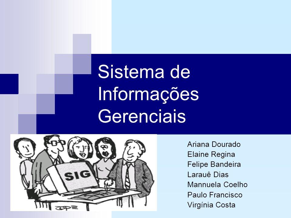 Sistema de Informações Gerenciais Ariana Dourado Elaine Regina Felipe Bandeira Larauê Dias Mannuela Coelho Paulo Francisco Virgínia Costa