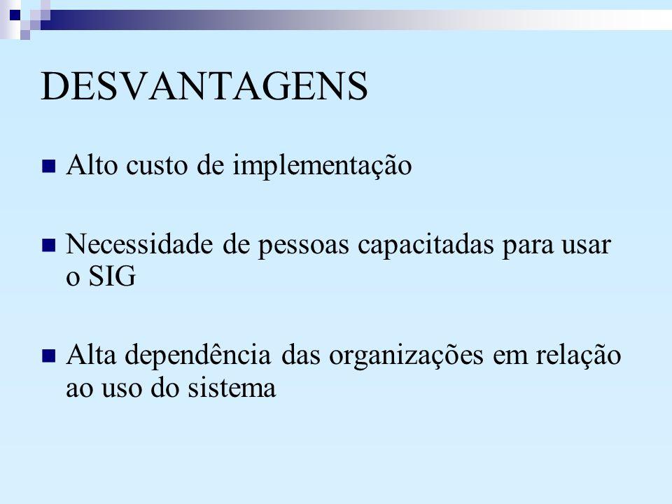 DESVANTAGENS Alto custo de implementação Necessidade de pessoas capacitadas para usar o SIG Alta dependência das organizações em relação ao uso do sis