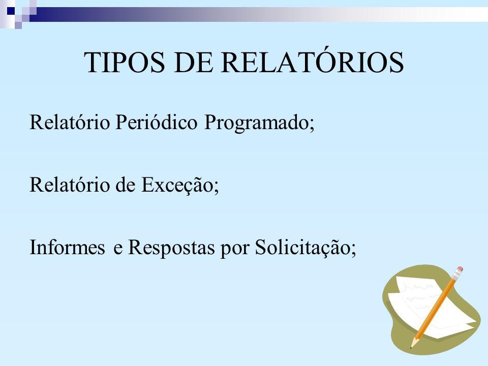 TIPOS DE RELATÓRIOS Relatório Periódico Programado; Relatório de Exceção; Informes e Respostas por Solicitação;