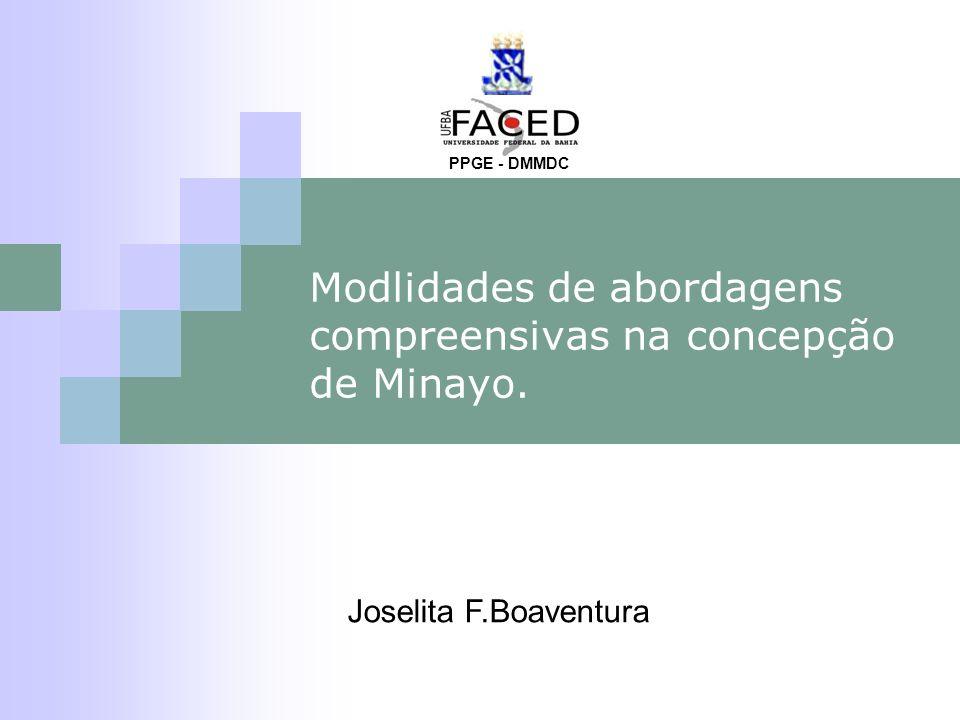 Modlidades de abordagens compreensivas na concepção de Minayo. PPGE - DMMDC Joselita F.Boaventura