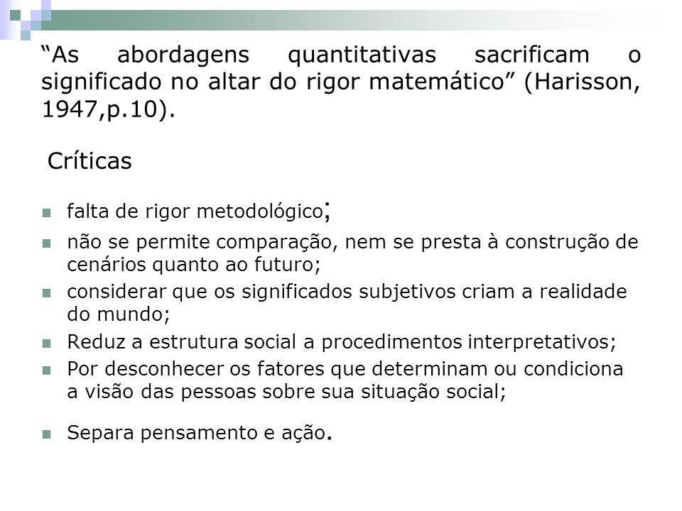 As abordagens quantitativas sacrificam o significado no altar do rigor matemático (Harisson, 1947,p.10). falta de rigor metodológico ; não se permite