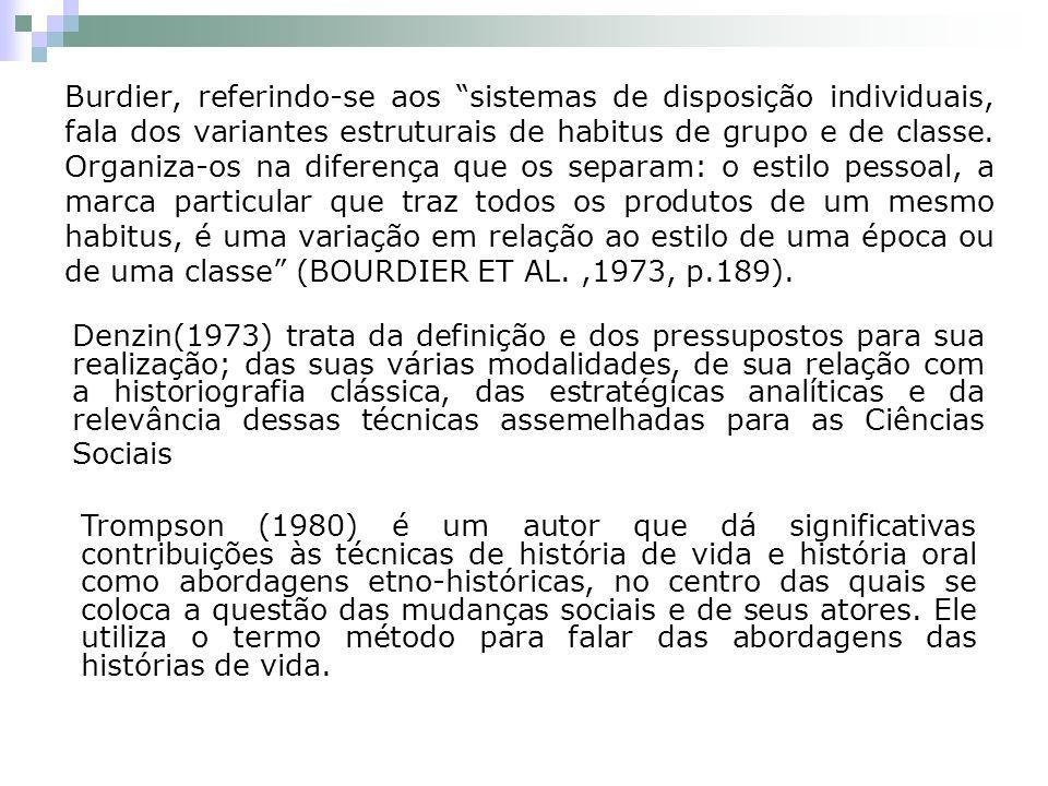 Burdier, referindo-se aos sistemas de disposição individuais, fala dos variantes estruturais de habitus de grupo e de classe. Organiza-os na diferença